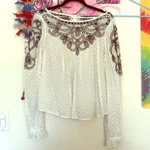 Free People Ivory Combo Top